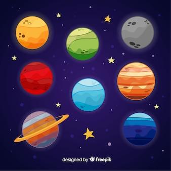 太陽系からのカラフルな惑星のパック