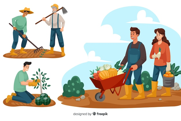 農場で働く人々のセット