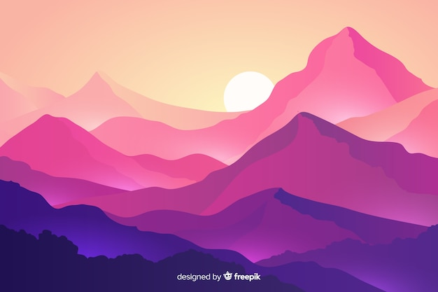山と夕日と山の風景