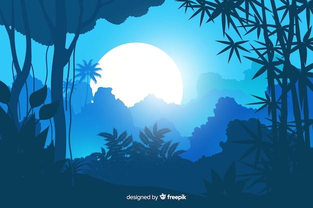 Тропический лесной пейзаж с пальмой