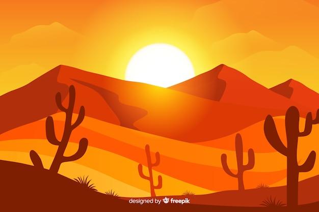 Иллюстрированный пустынный пейзаж с солнцем