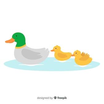 フラットなデザインの母鴨と彼女の小さなアヒル