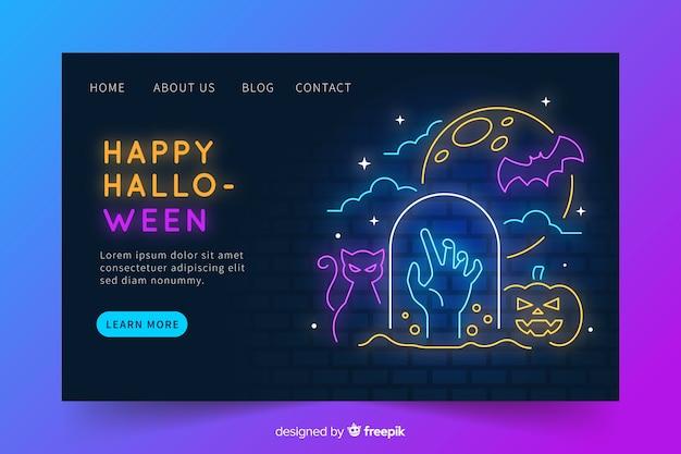 Неоновая веб-страница хэллоуина