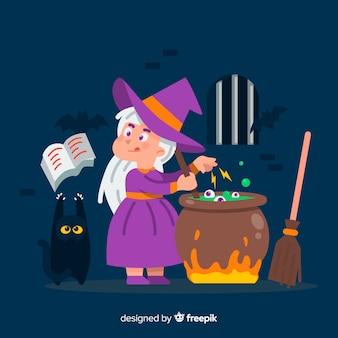 Нарисованная от руки милая ведьма на хэллоуин с черной кошкой