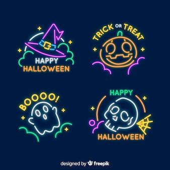 Коллекция неоновых вывесок для хэллоуина