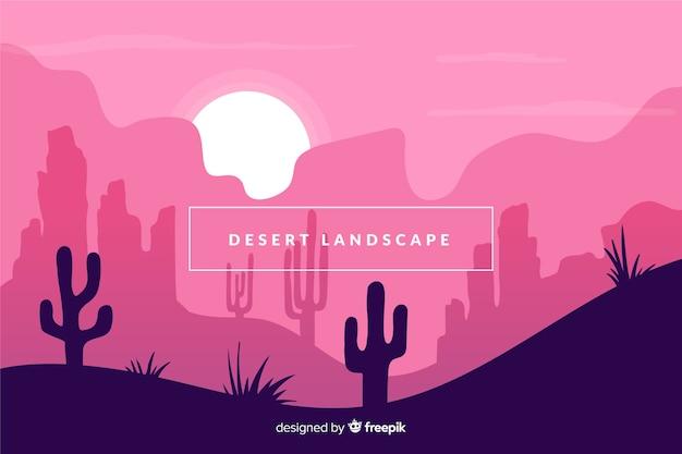 サボテンの風景の背景を持つ砂漠
