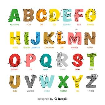 フラットなデザインでカラフルな動物のアルファベット