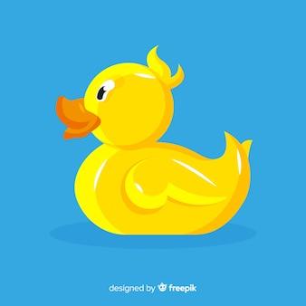 Иллюстрация плоской желтой резиновой утки