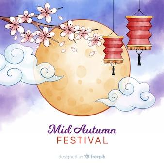 水彩半ば秋祭り