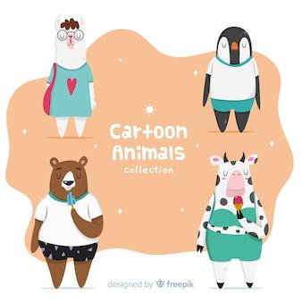 Одетая мультяшная коллекция животных