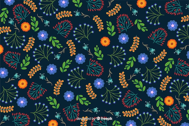 フラットなデザインの青い花の背景
