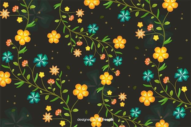 Симпатичный цветочный фон в плоском дизайне