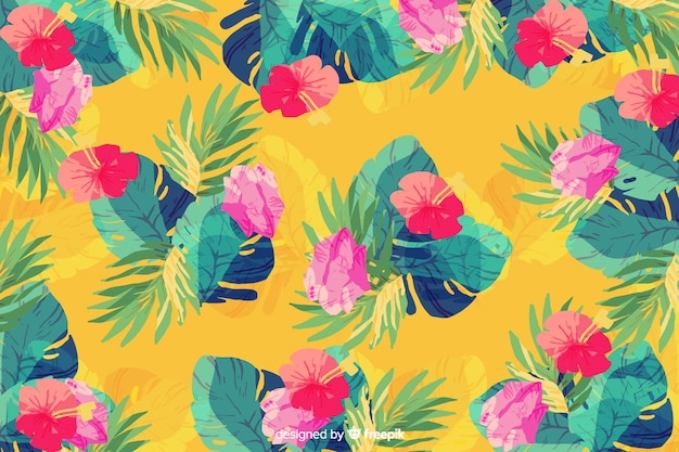 黄色の背景に水彩画のシームレスパターン植物