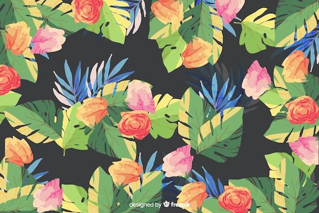 黒の背景に水彩画の花の背景