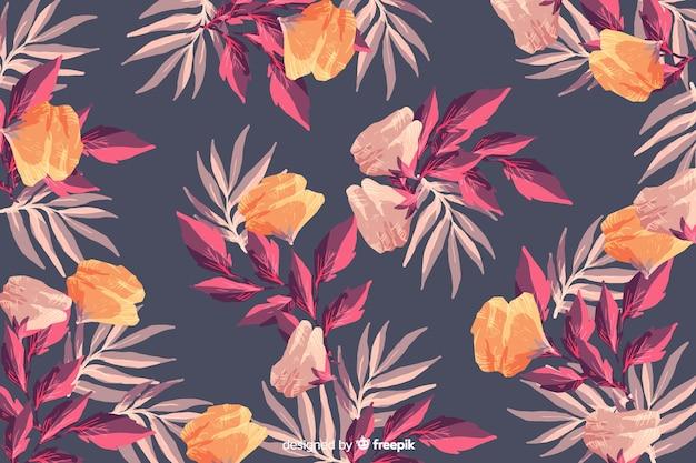 水彩ヴィンテージ花柄シームレス背景