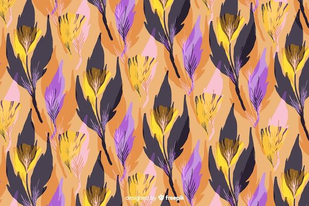 葉と水彩の抽象的な花の背景