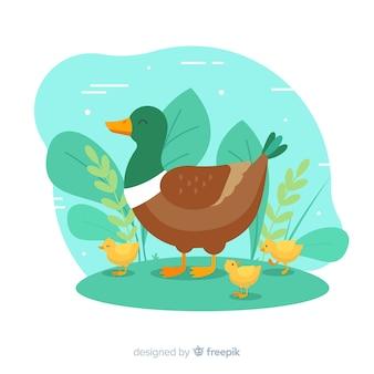 アヒルの子とフラット母鴨