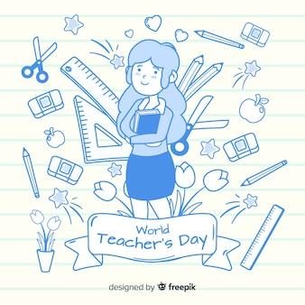 Плоский день учителя мира дизайна