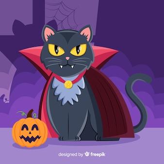 Хэллоуин черная кошка с плоским дизайном