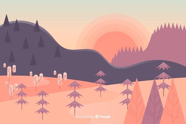 Плоский дизайн горный пейзаж