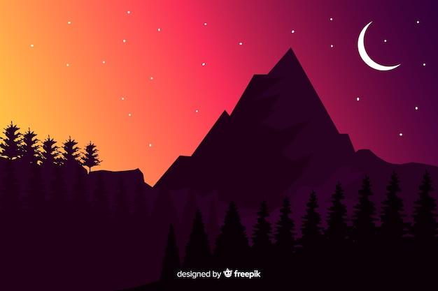 暗い背景の山