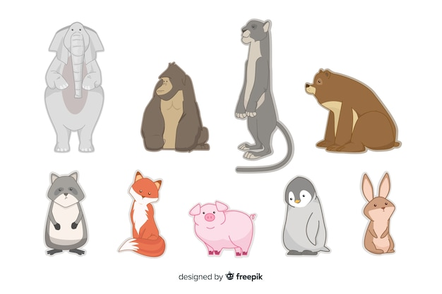 Плоский дизайн коллекции животных в детском стиле