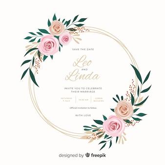 Красивый плоский дизайн свадебного приглашения с цветочной рамкой