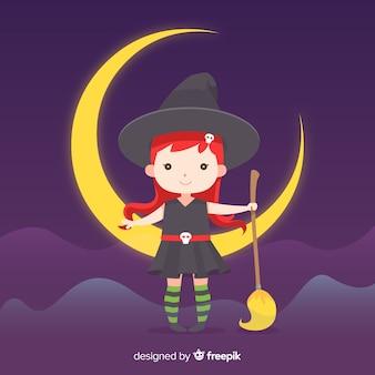 月に座っているかわいいハロウィーン魔女