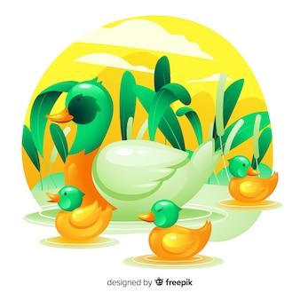 アヒルの子で休んでフラット母鴨