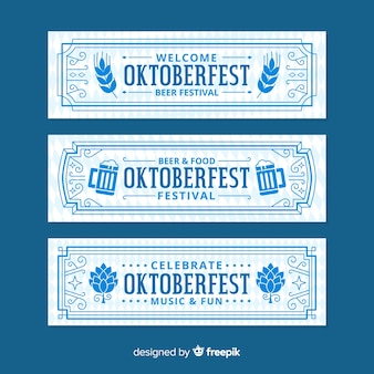 Ретро октоберфест баннеры плоский дизайн