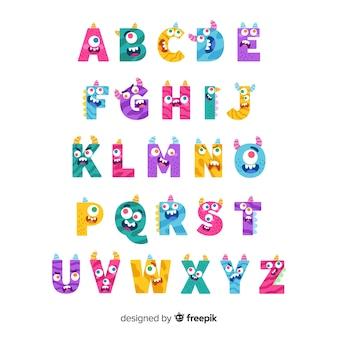 ハロウィーンかわいいモンスターアルファベット