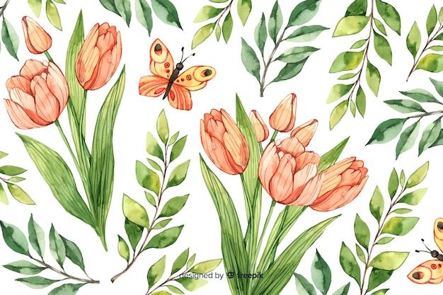 水彩のビンテージ花の背景