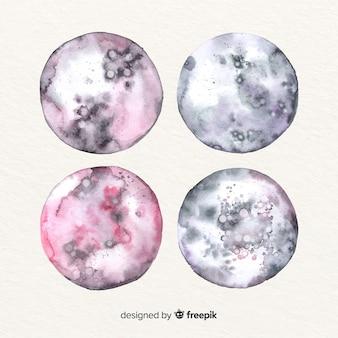 水彩画の芸術的な月のコレクション