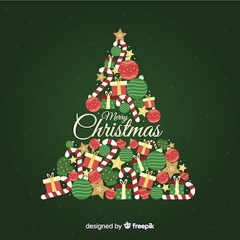 フラットなデザインのクリスマスツリーの背景
