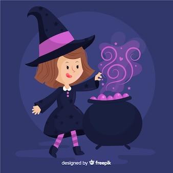 魔法のためにるつぼを使用する魔女