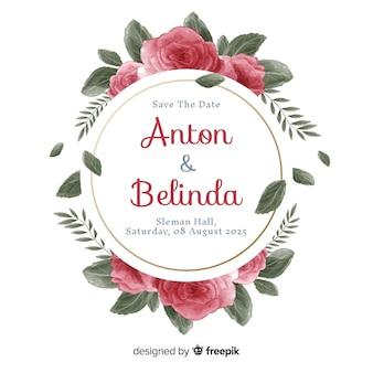 美しい手描きの花のフレームの結婚式の招待状