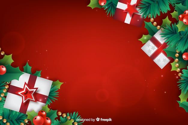 ギフト用の箱と現実的なクリスマスの背景