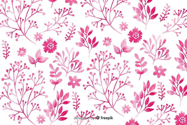 単色のピンクの水彩花の背景