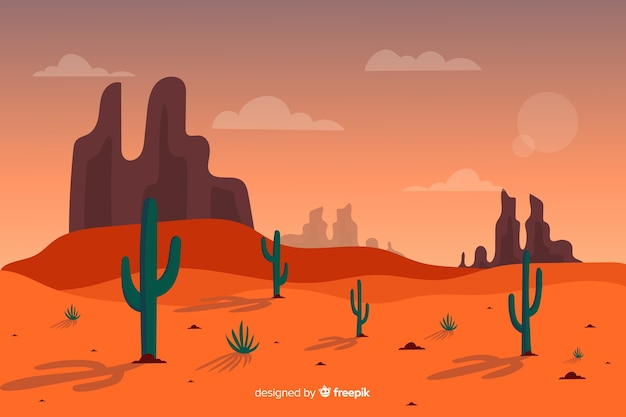 Длинный выстрел пустынного пейзажа