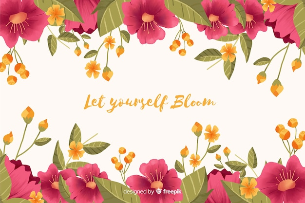 花の背景フレームに肯定的なメッセージ