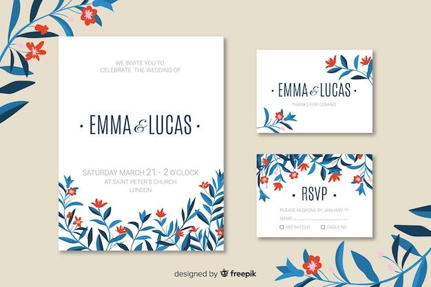 フラット結婚式招待状カードのテンプレート