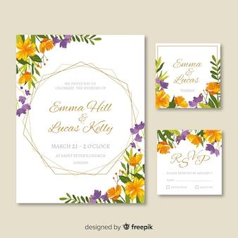 花柄のデザインで結婚式の招待状