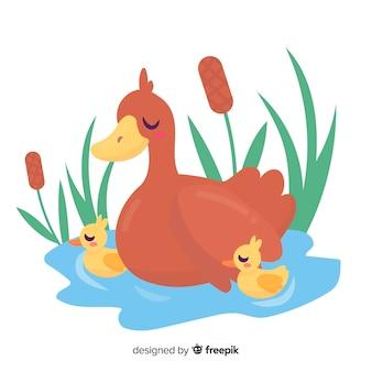 平らな母鴨と水にひな