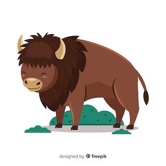 草とフラットなデザインの水牛動物