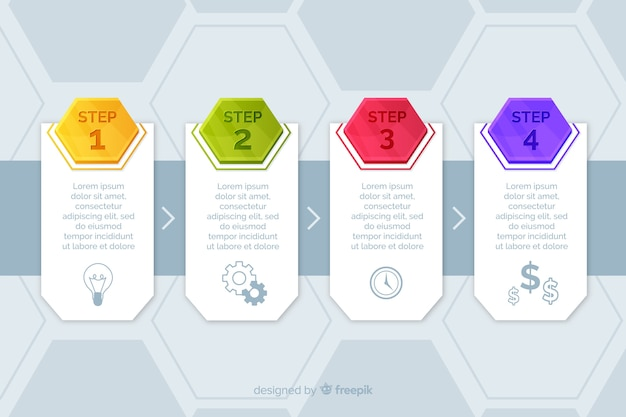 Шаблон шагов инфографики маркетинга