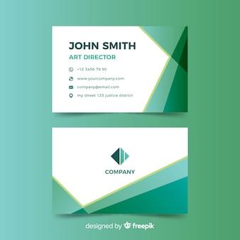 Зеленый градиент абстрактный шаблон визитной карточки