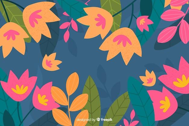 手描きのチューリップの背景の葉を持つ