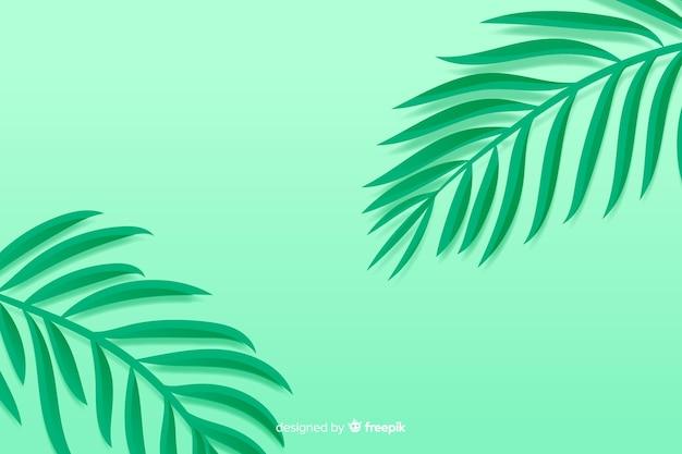 紙のスタイルでモノクロの緑の葉の背景