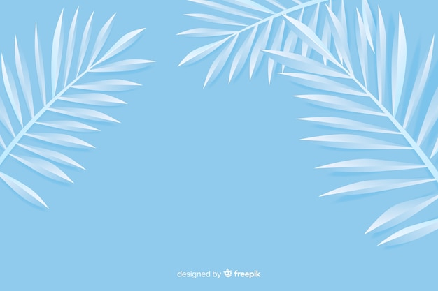 紙のスタイルでモノクロブルーの葉の背景