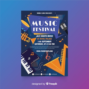 Шаблон плаката фестиваля джазовой музыки